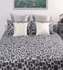 Grey Cotton Abstract Double Bed Sheet (with 2 Pillow Covers) - Set of 3 by Dreamscape