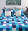 Blue Cotton Queen Bed Sheet (with 2 Pillow Covers)-Set of 3 by Dreamscape