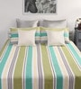 Green Cotton Queen Size Bed Sheet with 2 Pillow Covers-Set of 3 by Dreamscape