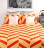 Dreamscape Red & Yellow Cotton Queen Bed Sheet (with 2 Pillow Covers)-Set of 3