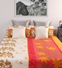 Dreamscape Orange Cotton Floral Queen Bed Sheet (with 2 Pillow Covers)-Set of 3