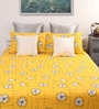Yellow Cotton Floral Double Bed Sheet (with 2 Pillow Covers) - Set of 3 by Dreamscape