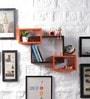Driftingwood Orange & Brown MDF Intersecting Storage Wall Shelf