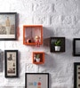 Orange & Brown MDF Nesting Square Shape Wall Shelves - Set of 3 by DriftingWood