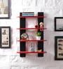 Driftingwood Red & Black MDF Ladder Shape Wall Shelf