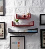 Red & Black MDF U Shape Floating Wall Shelves - Set of 3 by DriftingWood