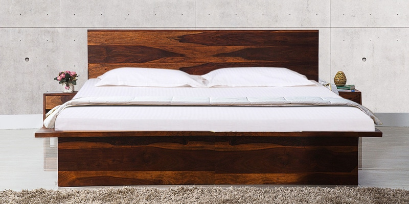 Duvall Queen Size Bed with Bedside Tables in Honey Oak Finish by Woodsworth