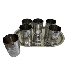 Dynore Stainless Steel Glasses With Tray - Set Of 6