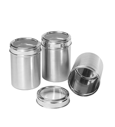 Dynore Stainless Steel Round 1750 Ml Canisters - Set Of 3