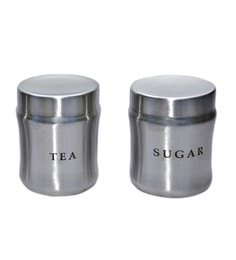 Dynore Stainless Steel Round 750 Ml Canisters - Set Of 2