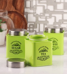 Dynore Stainless Steel Square 650 Ml Canisters - Set Of 3 - 1600197