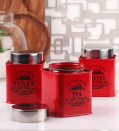 Dynore Stainless Steel Square 650 Ml Canisters - Set Of 3