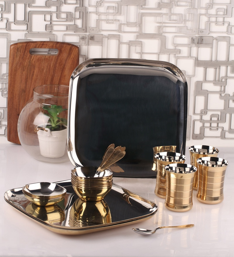Silver Stainless Steel 24-Piece Brass-Bottom Dinner Set by Dynore