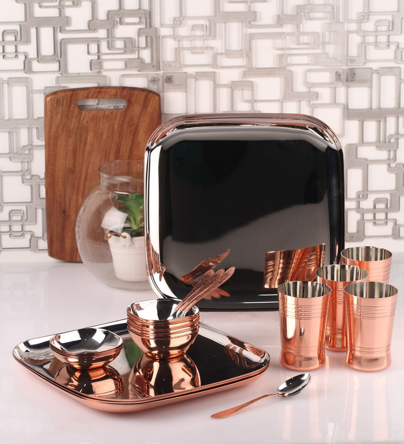 Silver Stainless Steel 24-Piece Copper-Bottom Dinner Set by Dynore