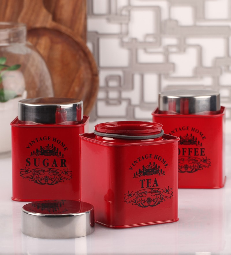 Dynore Half Deck Red Round 950 ML Tea, Coffee and Sugar Canister - Set of 3