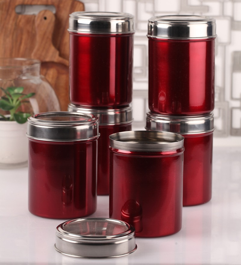 Dynore Maroon Stainless Steel 1 L Storage Canister - Set of 6