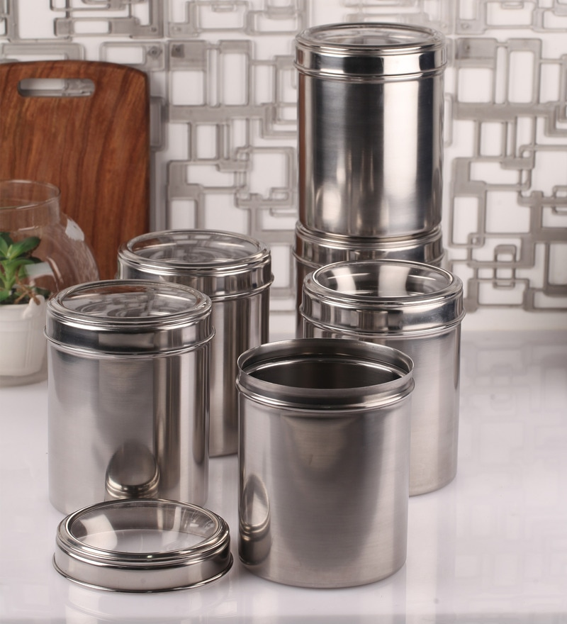 Dynore See Through Steel Round 1.75 L Storage Canister - Set of 6