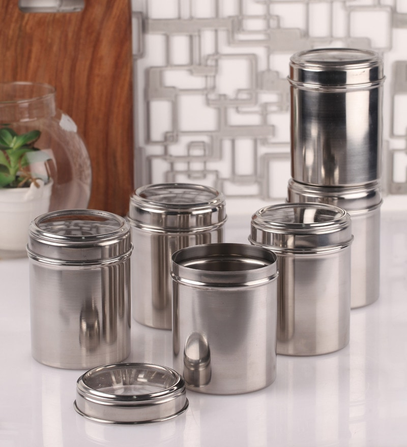 Dynore See Through Steel Round 750 ML Storage Canister - Set of 6