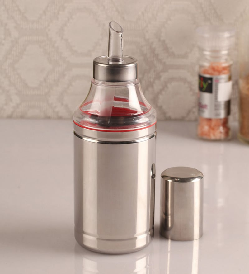 Dynore Silver Stainless Steel 750 ML Oil Dropper - Set of 2