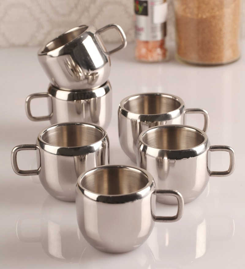 Dynore Stainless Steel Cups - Set of 6