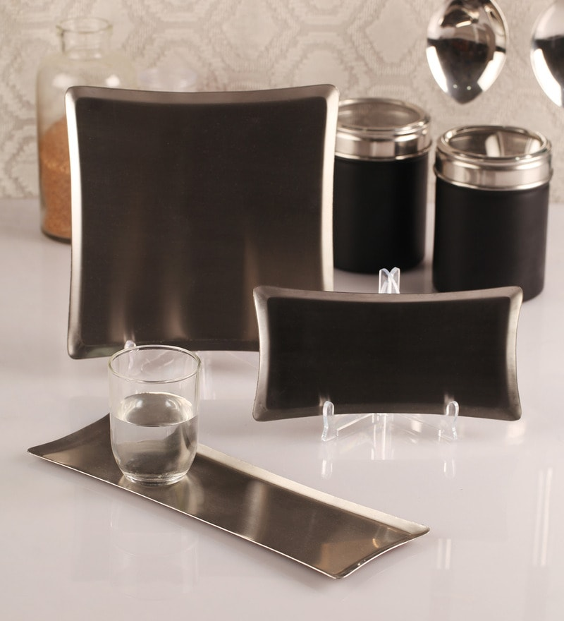 Dynore Stainless Steel Serving Tray - Set of 3