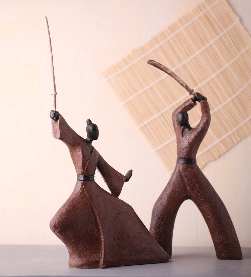 Black & Brown Polyresin Samurai Couple Statue Showpiece by Earth