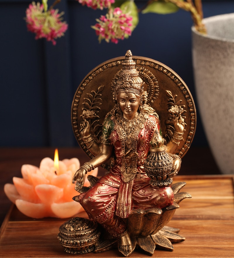 Red Polyresin Laxmi Idol by Earth