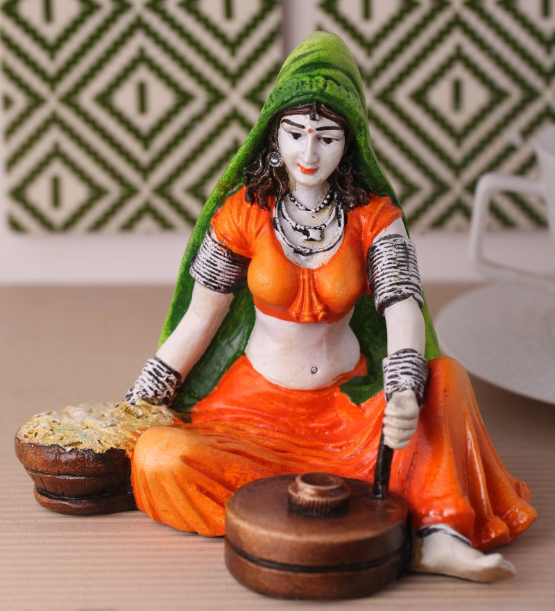 Multicolour Polyresin Traditional Lady with Flour Mill Statue Showpiece by Earth