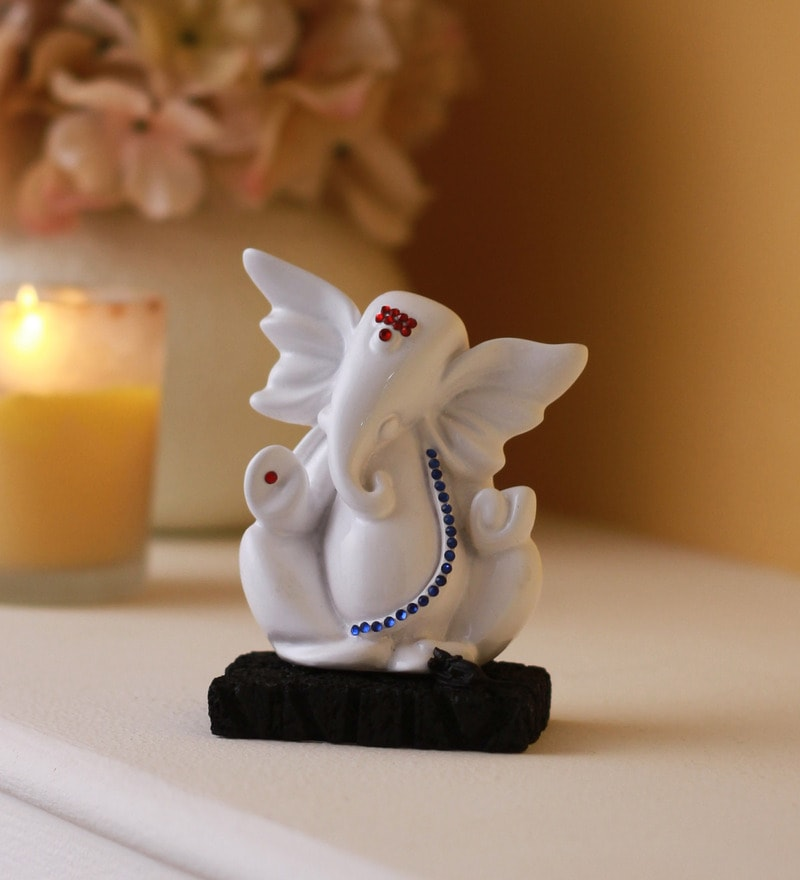 White Polyresin Abstract Ganesha Idol by Earth