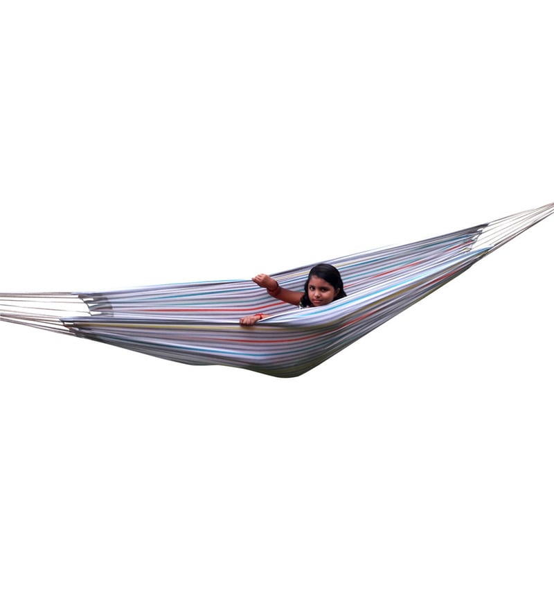 Eco Friendly Cotton Canvas Hammock in White Stripe by Hang It