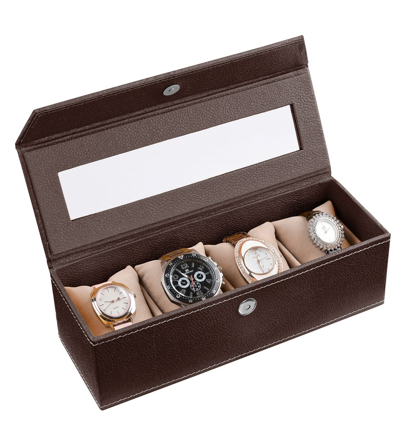 Ecoleatherette Leatherette Chocolate 4-case Watch Box