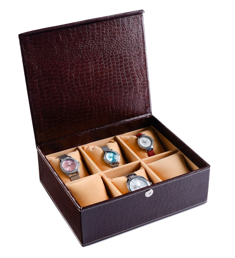 Leatherette Brown 6-Case Watch Box by Ecoleatherette