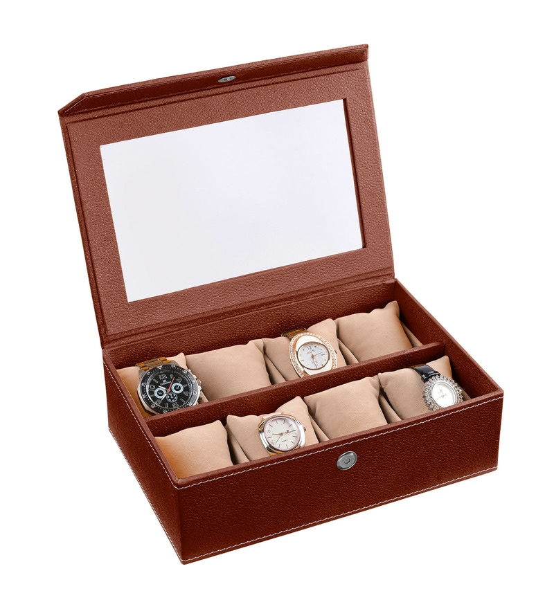 Leatherette Dark Brown 8-Case Watch Box by Ecoleatherette