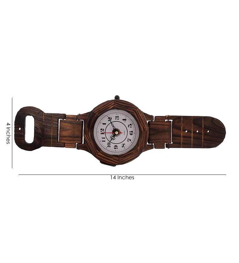 Buy Ecraftindia Antique Wrist Watch Shape Wooden Wall