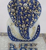 Blue & White Marble Ridhi Siddhi Chowki with Swastik by eCraftIndia