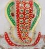 Multicolour Makrana Marble Crystal Studded Lord Ganesha Chowki with Peacock & Kalash by eCraftIndia