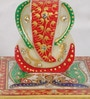 eCraftindia Multicolour Makrana Marble Glorious Lord Ganesha with Peacock on Chowki