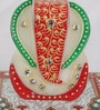 eCraftindia Multicolour Makrana Marble Lord Ganesha Chowki with Peacock & Kalash