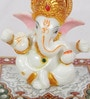 Multicolour Marble & Polyresin Lord Ganesha with Crown on Chowki by eCraftIndia