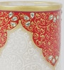 Red & Gold Makrana Marble Kundan Embossed Pen Stand by eCraftIndia