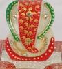 eCraftindia Red & White Marble Lord Ganesha on Chowki