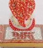 Red Makrana Marble Ridhi Siddhi with Swastik on Chowki by eCraftIndia