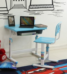 Ein Kids Study Table & Chair Set In Blue & White Colour