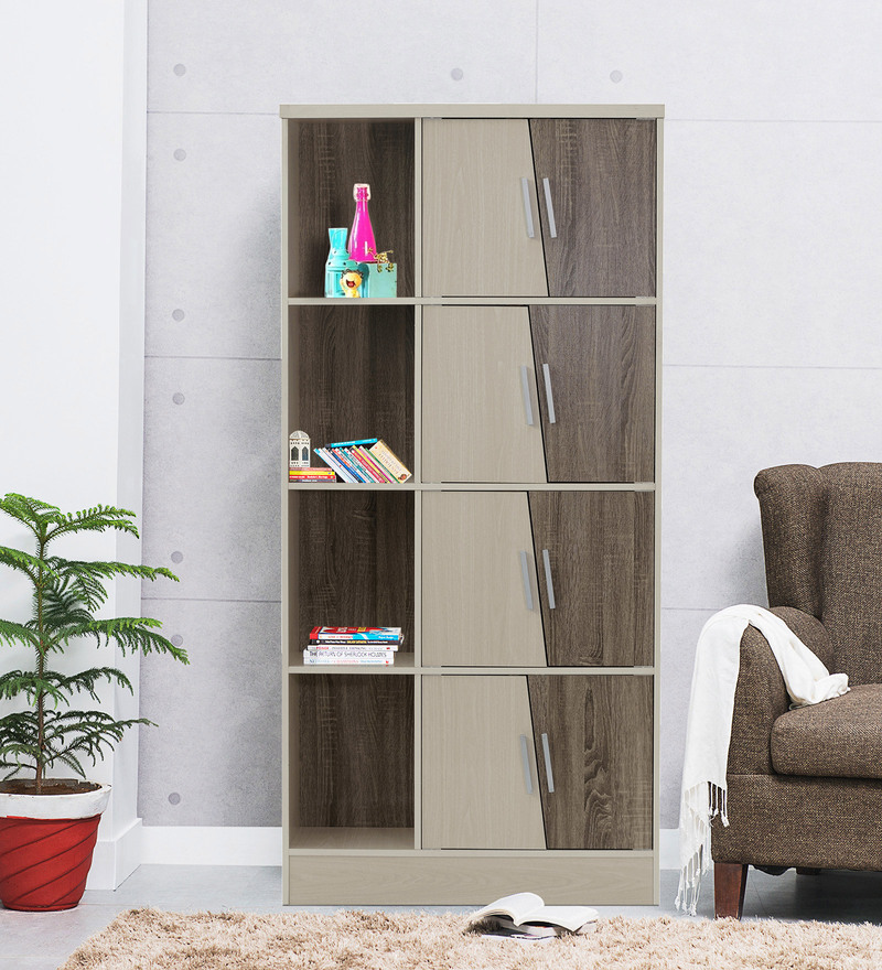 Eight Door Book Case cum Display Unit in Light Oak Finish by Marco