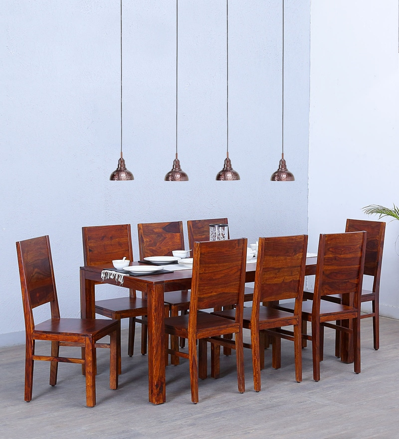 Oriel Eight Seater Dining Set in Honey oak Finish by Woodsworth