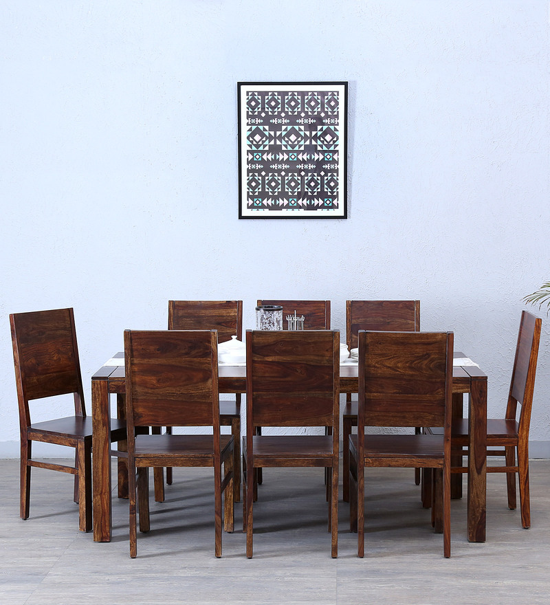 Oriel Eight Seater Dining Set in Provincial Teak Finish by Woodsworth