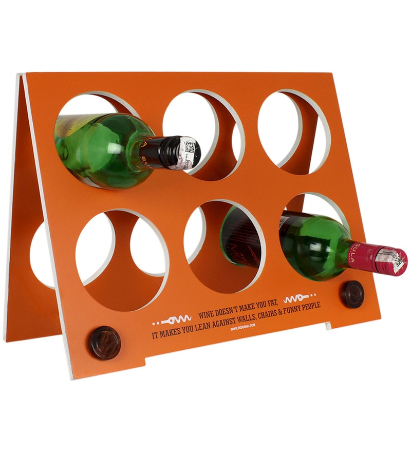 Classic Foldable Wine Rack in Orange Colour by Ek Do Dhai