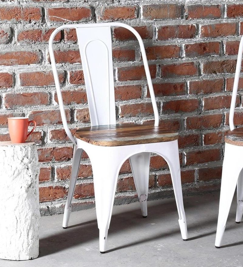 Kumtor Metal Chair In White Color With Wooden Seat By Bohemiana