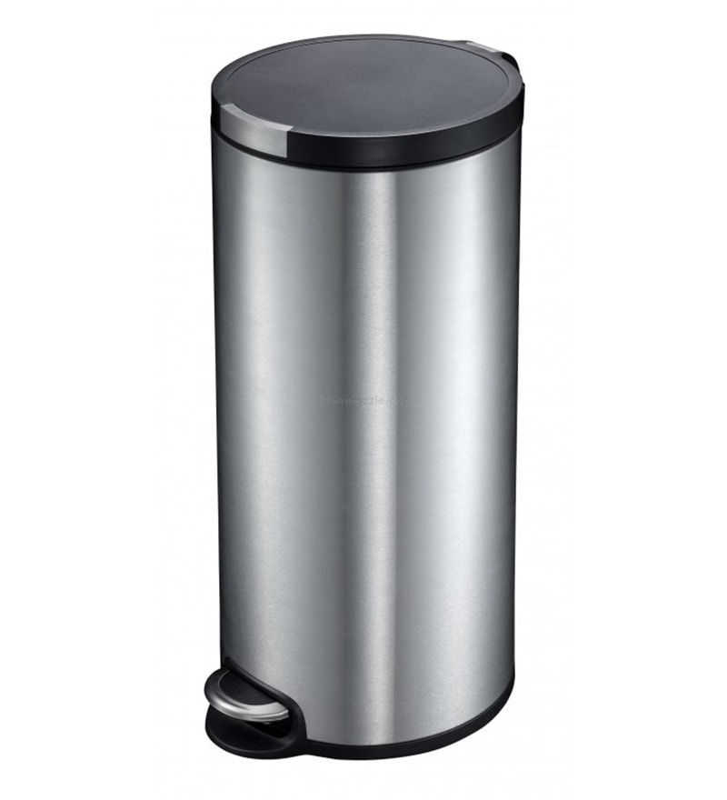 Eko Fingerprint Proof Soft Close Silver 30 L Pedal Bin