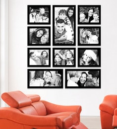 Elegant Arts and Frames Black Synthetic 38 x 1 x 43 Inch Group 10-E Wall Collage Photo Frame at pepperfry